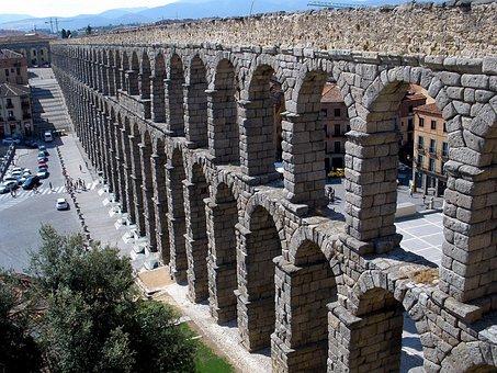 Segovia, Spain, Aqueduct, Old, Historical, Landmark
