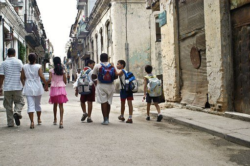Children, School, Walk, People, Street, Old, Yesteryear