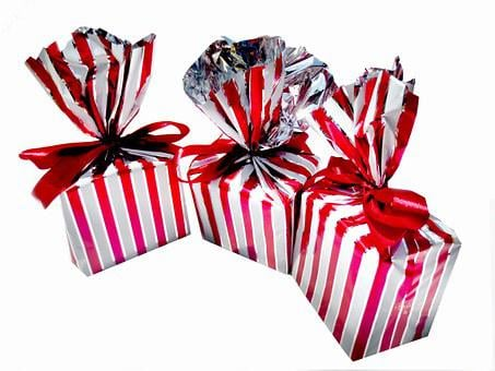 Gifts, Wrapped, Red, White, Stripes, Striped, Papers
