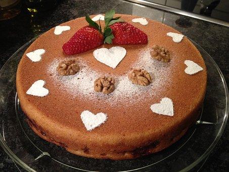 Cake, Vegan, Nuts, Heart, Sweet, Dessert, Food, Tasty