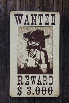 Bandit, Playmobil, Shield, Western, Wanted, Criminal