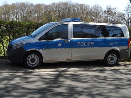 Police Car, Police, Blue, White, Park, Bill, Vehicle
