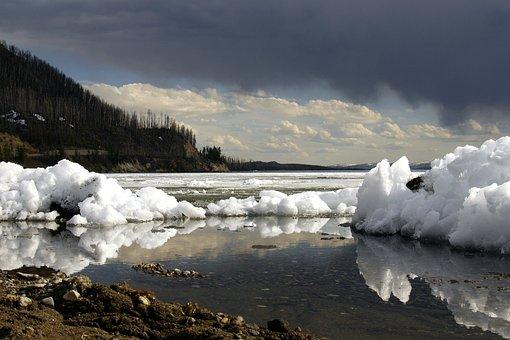 Winter, Yellowstone Lake, Wyoming, Thunderstorm, Sky