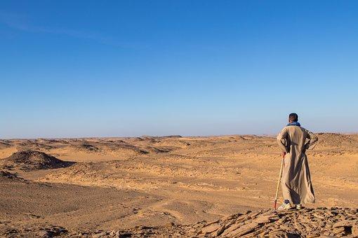 Desert, Man, Arabic, Dress, Egypt, Sand, Landscape
