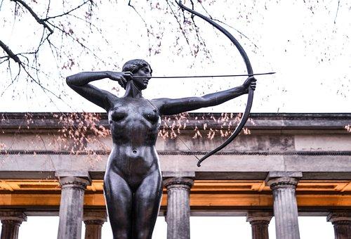 Archer, Human, Warrior, Woman, Sculpture, Shoot