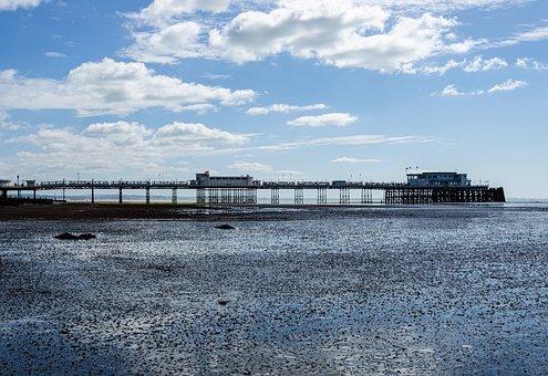 Pier, Ebb, Clouds, Sky, Tides, Beach, Sea, Reflections