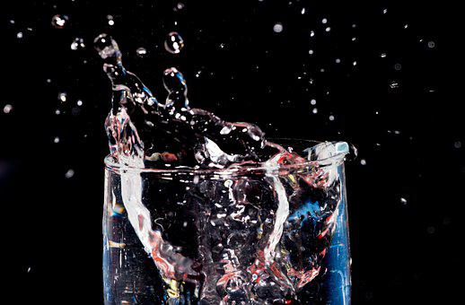 Black Backdrop, Splash, Water, Glass