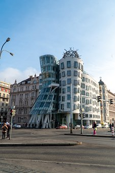 Prague, Dancing House, Building, Urban