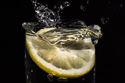 Citrus, Black Backdrop, Splash, Water