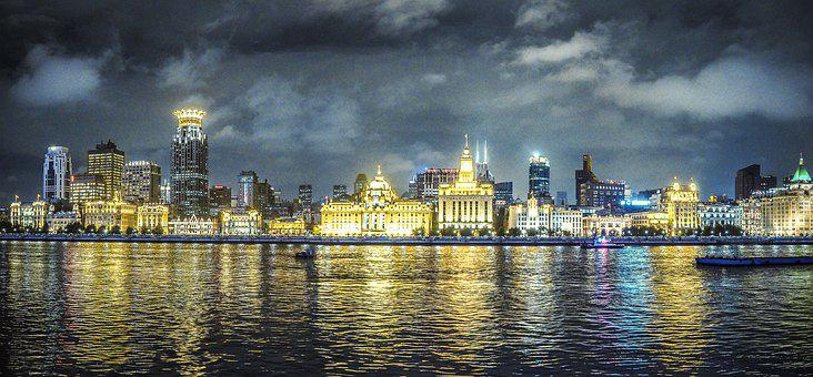 River, Night, City, Sky, Architecture, Buildings
