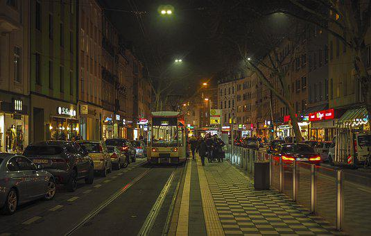 Night, Road, City, Traffic, Lighting