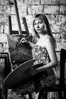 Artist, Easel, Canvas, Picture, Girl, Creativity, Paint
