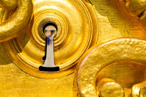 Lock, Gold, Versailles, Door, Grid, Portal, Design