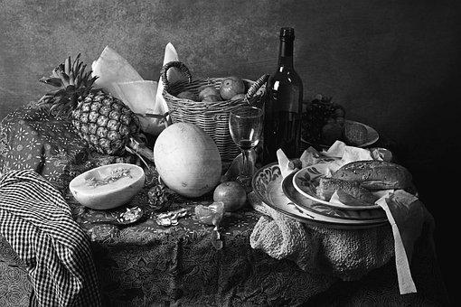 Still Life, Black And White, Table, Fruits, Fine Art