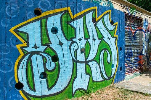 Graffiti, Blue, Landscape, Urban, Green