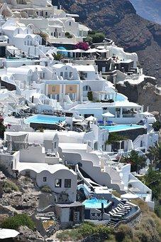 Santorini, Greece, Island, Architecture, Blue, Sea, Oia