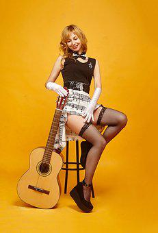 Retro, Vintage, Guitar, Music, Pin-up Girl, Nostalgia