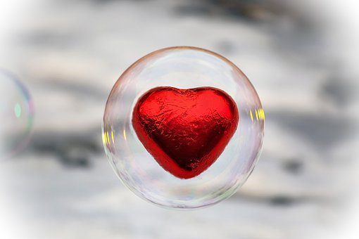 Soap Bubble, Heart, Composing, Red Heart