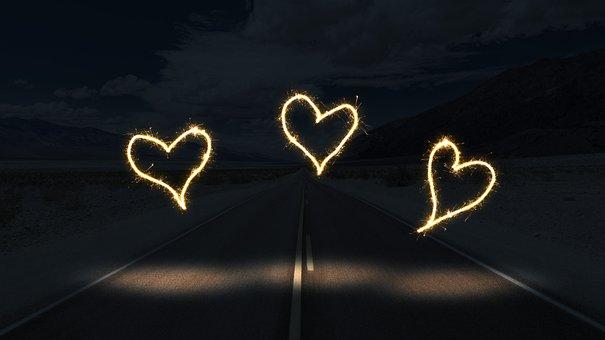Road, Night, Light, Heart, Away, Dark, Travel