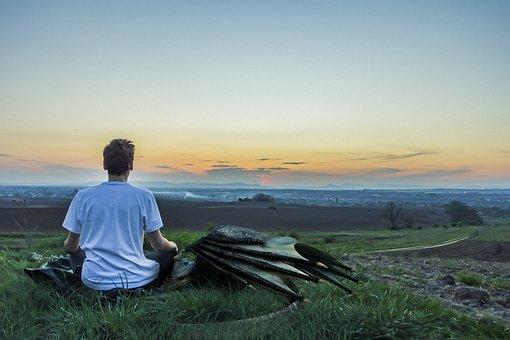 Boy, Dragon, Sunset, Field, Meditation, Fantasy, Man