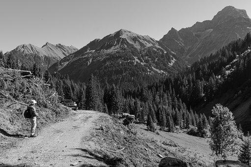 Black And White, Mountains, Alpine