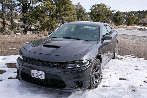 Nevada, Mountains, Snow, Auto, Car, Muscle Car, Dodge