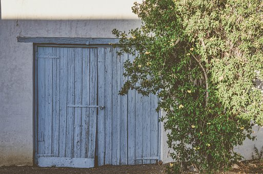 Quaint, Rustic, Garage, Doors, Tree, Bush, Blue, Green