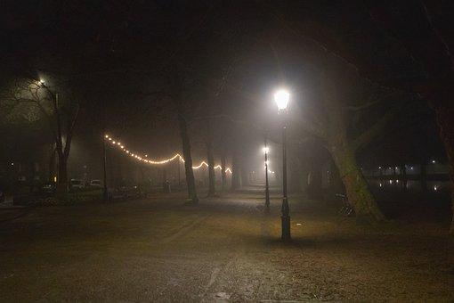 Mist, Night Time, Riverbank, Urban Landscape, Haze
