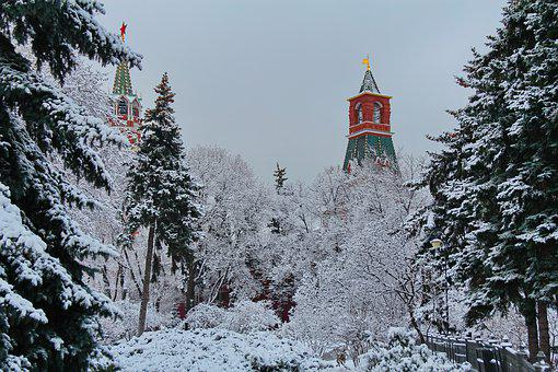 Moscow Kremlin, Russia, Tower, Snow, Winter, Frost