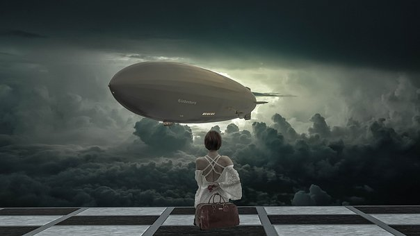 Fantasy, Sky, Clouds, Airship, Hindenburg, Woman, Wait
