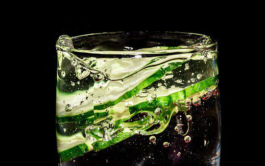 Cucumber, Black Backdrop, Splash, Water