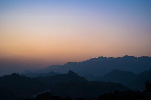 Mist Blue, Pale Sunset, Sunset, Mountains, Hills