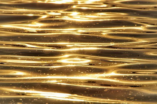 Water, Wave, Reflection, Surface, Gold, Sunlight