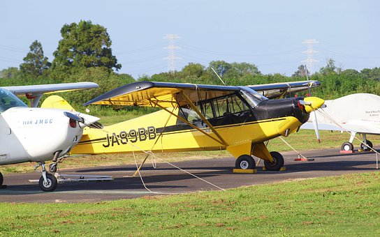 Landscape, Airfield, Airplane, Light Aircraft, Yellow