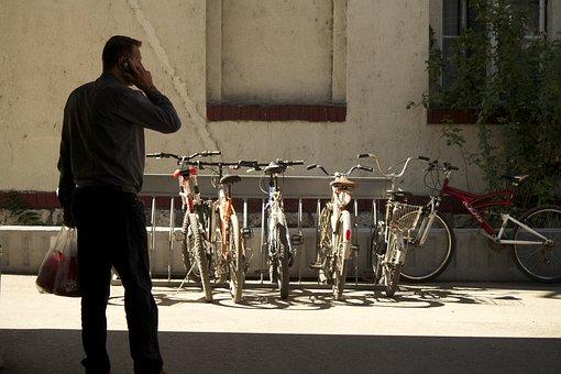 Man, Talking, Phone, Silhouette, Bikes, Bicycles