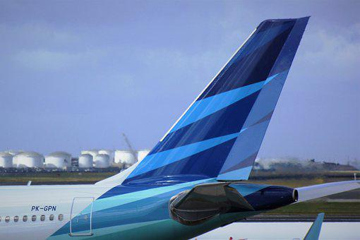 Indonesia, Garuda, Airlines, Decals, Blue, Tail, Wing