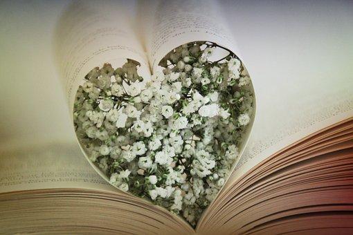 Heart, Book, Love, Gypsophila, Read, Literature, Books