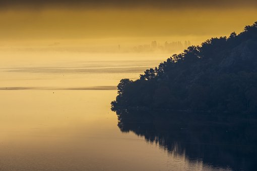 Lake, Yellow, Gold, Light, Calm, Nature, Land, Orange
