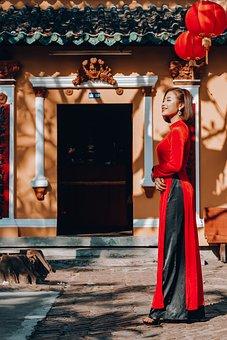 Vietnam, Aodai, Woman, Female, Fashion, Happy, Cantho