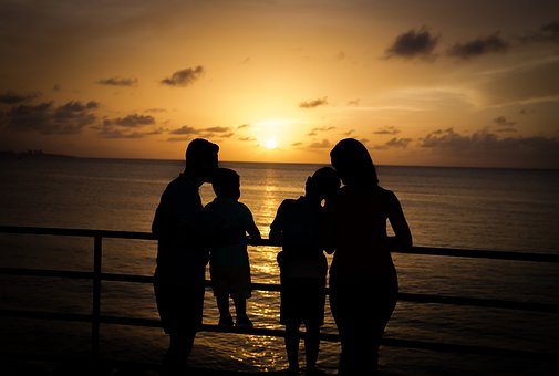 Family, Sunset, Mother, Father, Child