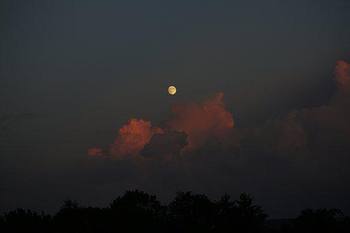 Storm Clouds, Evening, At Night, Moon