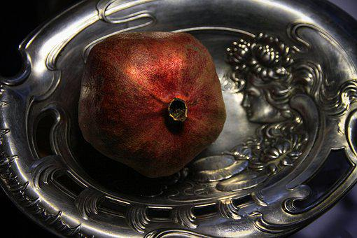Dish, Pomegranate, Silver, Fruit