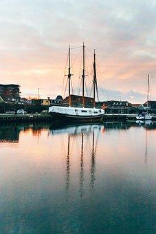 Harbor, Ship, Sunset, Water, Sky, Sea
