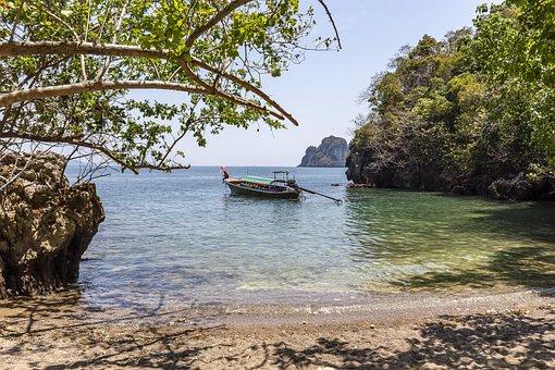 Thailand, Fisherman, Long Tile Boat, Ocean, Asia, Beach
