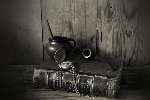 Still Life, Book, Tube, Old, Retro