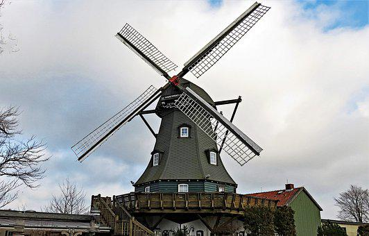 Windmill, Old, Historically, Restored, Building