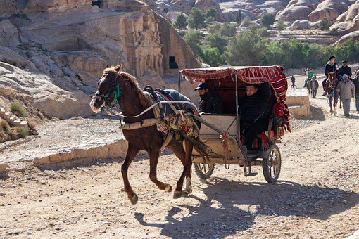 Horse, Cart, Running, Old, People