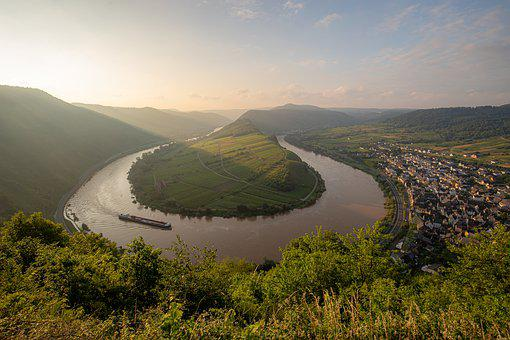 Mosel, Bremm, Sachsen, Germany, River, Village