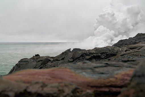 Volcano, Lava, Cloud, Smoke, Hawaii, Rock, Sea
