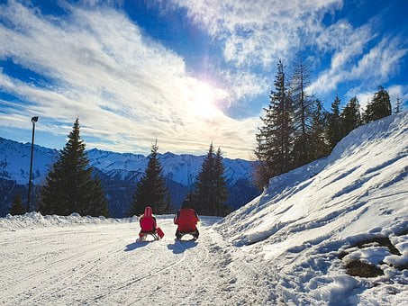 Sled, Austria, Meadow, Mountaineering, Atmosphere